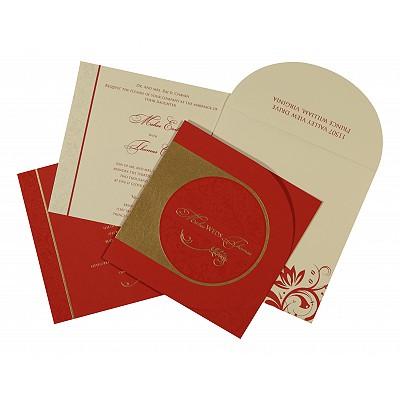 Pink Matte Paisley Themed - Screen Printed Wedding Card : CC-8264D