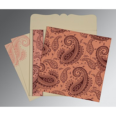 Pink Matte Paisley Themed - Screen Printed Wedding Card : CD-8250F - IndianWeddingCards
