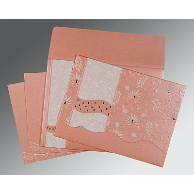 Pink Shimmery Floral Themed - Embossed Wedding Invitation : CW-8236A - IndianWeddingCards