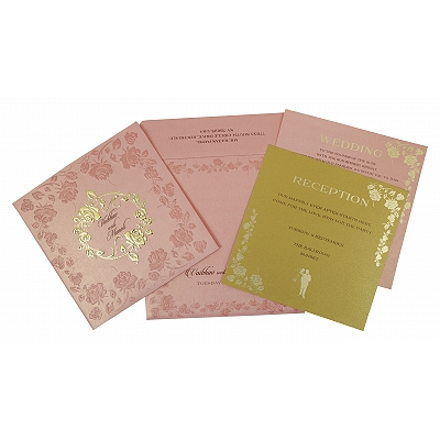 Pink Shimmery Floral Themed - Foil Stamped Wedding Invitation : CW-1787 - IndianWeddingCards