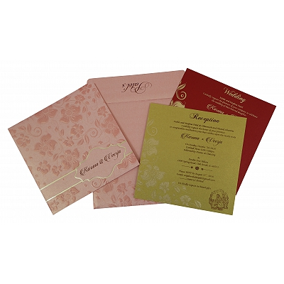 Pink Shimmery Floral Themed - Foil Stamped Wedding Invitation : CW-1793 - IndianWeddingCards