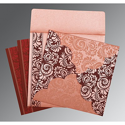 Pink Shimmery Floral Themed - Screen Printed Wedding Card : CS-8235D