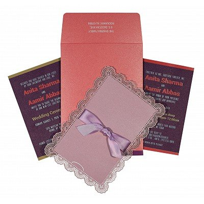 Pink Shimmery Laser Cut Wedding Invitation : CIN-1589 - IndianWeddingCards