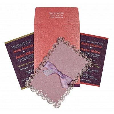 Pink Shimmery Laser Cut Wedding Invitations : CW-1589 - IndianWeddingCards