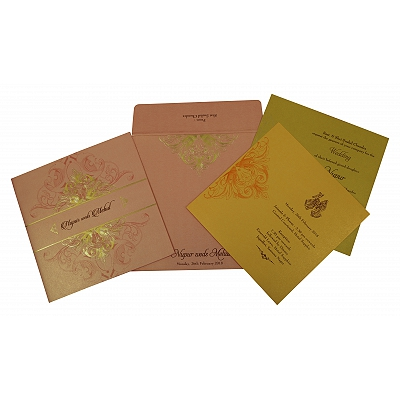 Pink Shimmery Paisley Themed - Foil Stamped Wedding Invitation : CD-1819 - IndianWeddingCards
