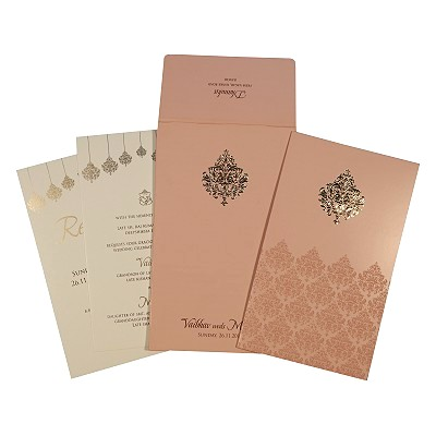 Pink Shimmery Paisley Themed - Screen Printed Wedding Card : CD-1746 - IndianWeddingCards