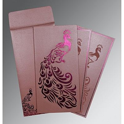 Pink Shimmery Peacock Themed - Laser Cut Wedding Invitation : CC-8255B - IndianWeddingCards