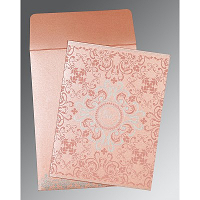 Pink Shimmery Screen Printed Wedding Card : CC-8244A - IndianWeddingCards