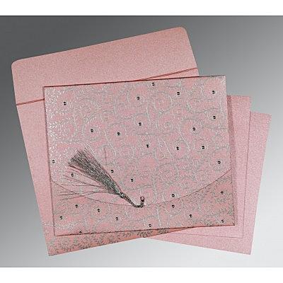 Pink Shimmery Screen Printed Wedding Invitation : CS-8217E - IndianWeddingCards