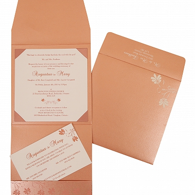 Pink Shimmery Screen Printed Wedding Invitation : CW-803C