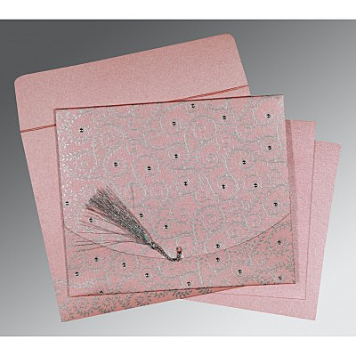 Pink Shimmery Screen Printed Wedding Invitation : CW-8217E - IndianWeddingCards