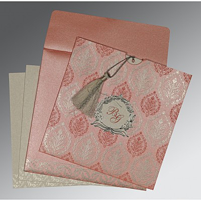 Pink Shimmery Unique Themed - Foil Stamped Wedding Card : CIN-8249H - IndianWeddingCards