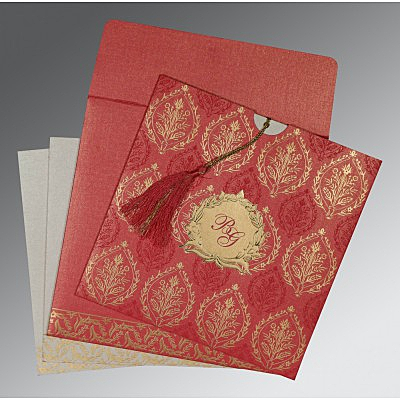 Pink Shimmery Unique Themed - Foil Stamped Wedding Card : CSO-8249K - IndianWeddingCards