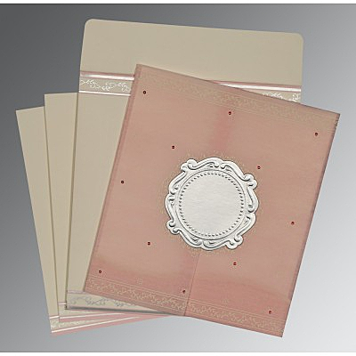 Pink Wooly Embossed Wedding Invitation : CD-8202P - IndianWeddingCards