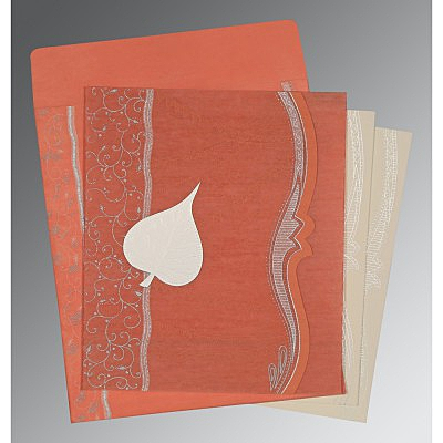 Pink Wooly Embossed Wedding Card : CD-8210M - IndianWeddingCards