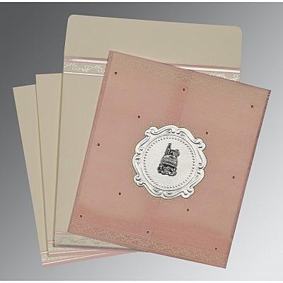 Pink Wooly Embossed Wedding Invitation : CI-8202P - IndianWeddingCards