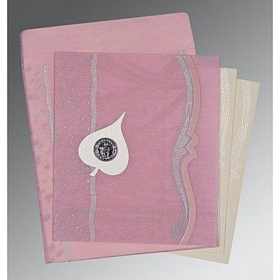 Pink Wooly Embossed Wedding Card : CS-8210B - IndianWeddingCards