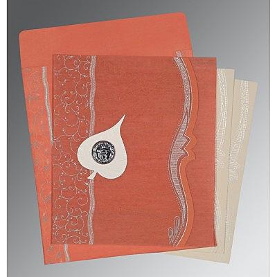 Pink Wooly Embossed Wedding Card : CS-8210M - IndianWeddingCards