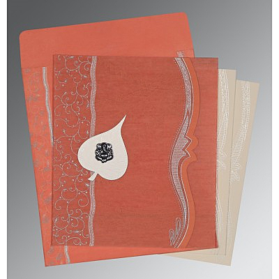 Pink Wooly Embossed Wedding Card : CW-8210M - IndianWeddingCards