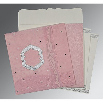 Pink Wooly Floral Themed - Embossed Wedding Card : CD-8209H - IndianWeddingCards