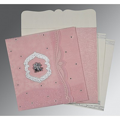 Pink Wooly Floral Themed - Embossed Wedding Card : CG-8209H - IndianWeddingCards