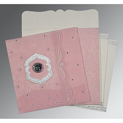 Pink Wooly Floral Themed - Embossed Wedding Card : CS-8209H - IndianWeddingCards