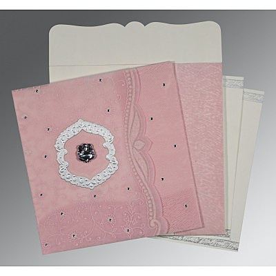 Pink Wooly Floral Themed - Embossed Wedding Card : CW-8209H - IndianWeddingCards