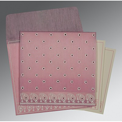 Pink Wooly Floral Themed - Screen Printed Wedding Card : CD-8218J - IndianWeddingCards