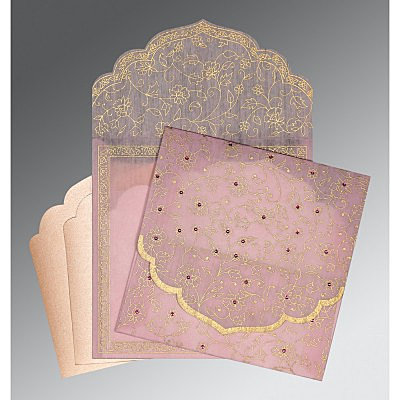 Pink Wooly Floral Themed - Screen Printed Wedding Invitation : CG-8211D - IndianWeddingCards