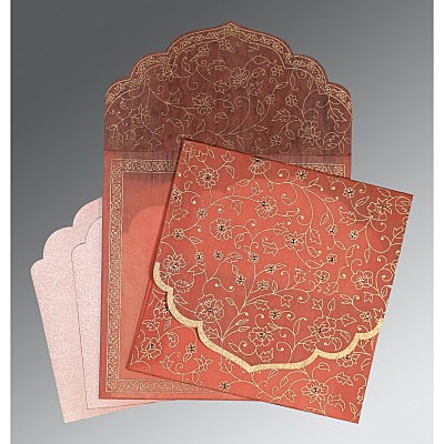 Pink Wooly Floral Themed - Screen Printed Wedding Invitation : CW-8211J - IndianWeddingCards