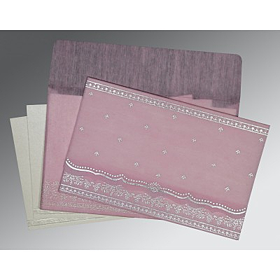 Pink Wooly Foil Stamped Wedding Invitation : CD-8241E - IndianWeddingCards