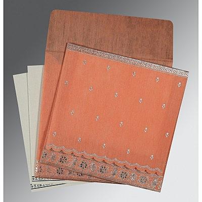 Pink Wooly Foil Stamped Wedding Card : CIN-8242L - IndianWeddingCards