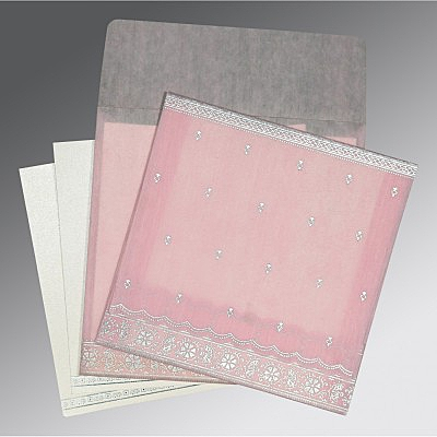 Pink Wooly Foil Stamped Wedding Card : CW-8242N - IndianWeddingCards