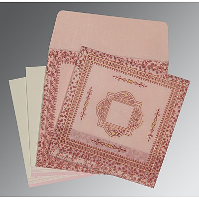 Pink Wooly Glitter Wedding Card : CD-8205J - IndianWeddingCards