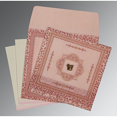 Pink Wooly Glitter Wedding Card : CS-8205J - IndianWeddingCards