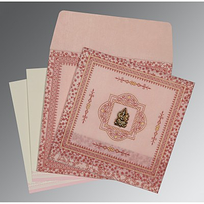Pink Wooly Glitter Wedding Card : CW-8205J - IndianWeddingCards