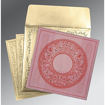 Pink Wooly Screen Printed Wedding Card : CD-8214F - IndianWeddingCards