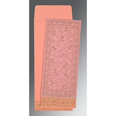 Pink Wooly Screen Printed Wedding Invitation : CI-8220J - IndianWeddingCards