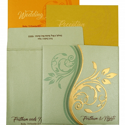 Pista Green Shimmery Floral Themed - Embossed Wedding Invitation : CW-1901 - IndianWeddingCards