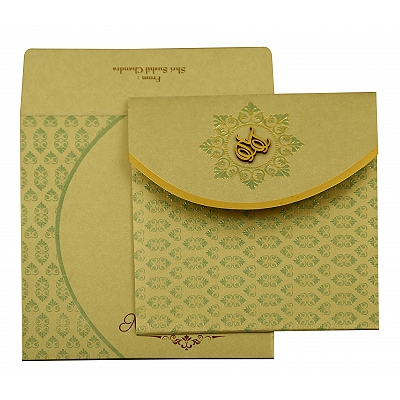 Pista Green Shimmery Floral Themed - Foil Stamped Wedding Invitation : CC-1915 - IndianWeddingCards