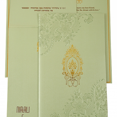 Pista Green Shimmery Floral Themed - Foil Stamped Wedding Invitation : CI-1905 - IndianWeddingCards