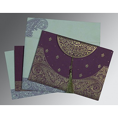 Purple Handmade Cotton Embossed Wedding Invitations : CD-8234D - IndianWeddingCards