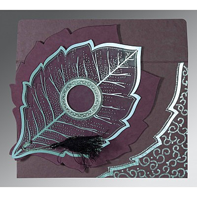 Purple Handmade Cotton Floral Themed - Foil Stamped Wedding Card : CW-8219O - IndianWeddingCards
