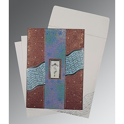Purple Handmade Shimmer Foil Stamped Wedding Card : CIN-1375 - IndianWeddingCards