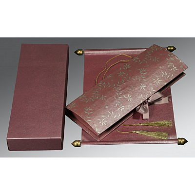 Purple Handmade Shimmer Wedding Invitation : CSC-5007C - IndianWeddingCards