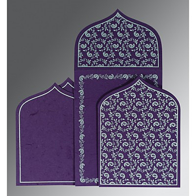 Purple Handmade Silk Paisley Themed - Glitter Wedding Invitation : CW-8208D - IndianWeddingCards