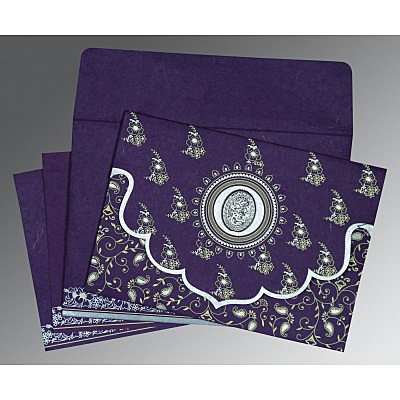 Purple Handmade Silk Screen Printed Wedding Invitation : CI-8207G - IndianWeddingCards