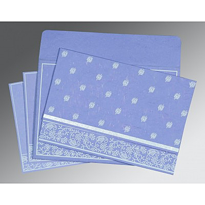 Purple Handmade Silk Screen Printed Wedding Card : CI-8215B - IndianWeddingCards