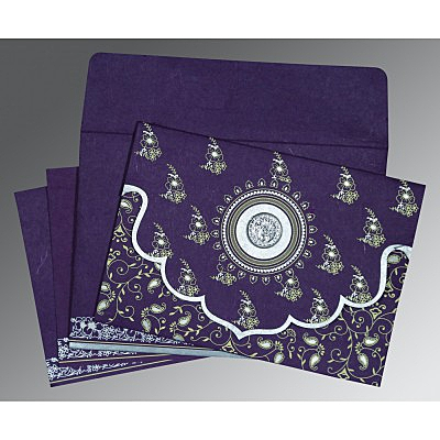 Purple Handmade Silk Screen Printed Wedding Invitation : CS-8207G - IndianWeddingCards