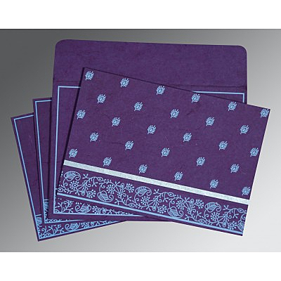 Purple Handmade Silk Screen Printed Wedding Card : CS-8215G - IndianWeddingCards